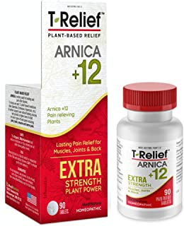 MediNatura T-Relief Extra Strength Pain Relief With Arnica + 12 Plant-Based Pain Relievers - 90 Tablets