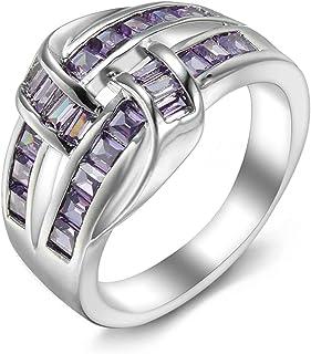 خواتم مخصصة للأزواج من الفضة عيار 925 من تشينفينغ خواتم الزواج والخطوبة والأم للنساء مع أحجار كريمة مقلدة