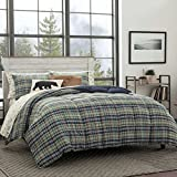 Eddie Bauer Home | Rugged Collection | Plush Super Soft Micro-Suede Premium Quality Down Alternative Comforter With Matching Sham, 2-Piece Bedding Set, Reversible Plaid, Twin, Navy Blue
