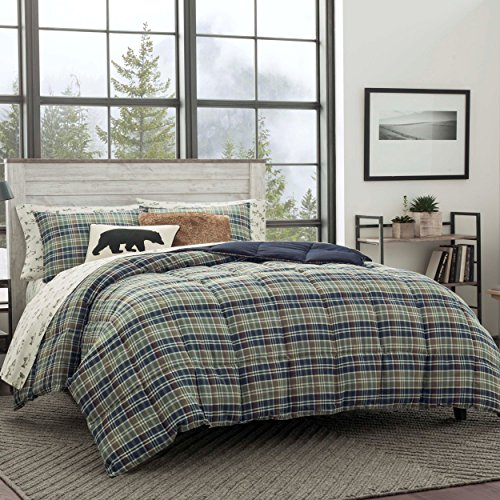 Eddie Bauer Home | Rugged Collection | Bedding Set-Soft and Cozy, Reversible Plaid Down Alt Comforter, King, Navy Blue