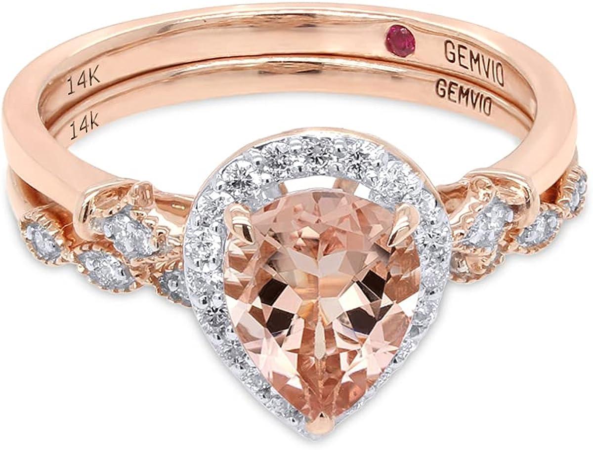 GEMVIO Collection Fleur-de-lis Vintage Style Bridal Set, Pear Cut Morganite 8X6MM Gemstone & Diamond in 14K Gold Engagement Promise Anniversary Wedding Ring 1.10 Ct