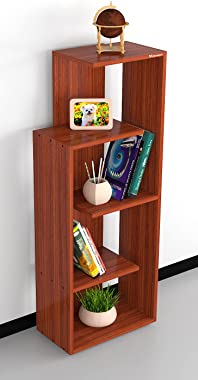 Mahaakaay Rudrika Engineered Wood Book Shelf Rack Shelves with 5 Home Decor Display Storage Rack Color Classic Walnut