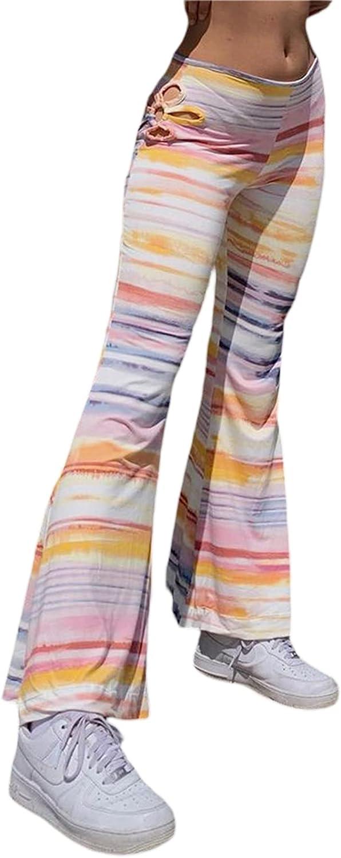 Myleesiy Women's Fashion Striped Trumpet Trousers High Waist Printed Slim Pants Casual Shopping Street Girl Style