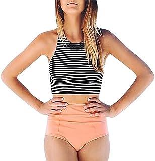 810f84e21c LANNORN Femme Sexy À Rayures Maillot de Bain Deux piéce Taille Bikini