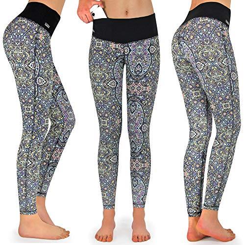 Formbelt® Damen Yoga-Leggings bunt mit Tasche lang - Leggins Yoga-Hose Print Hüfttasche für Smartphone iPhone Handy Schlüssel (Spirit One M Mehrfarbig)