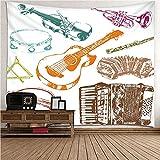 KnBoB Tapiz Pared Decorativo Patrón de Instrumentos Musicales...