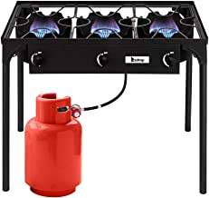 Goujxcy Outdoor Camp Stove High Pressure Propane Gas Cooker Portable Cast Iron Patio Cooking Burner for Camping, Patio, or RV (Three Burner 225000-BTU)