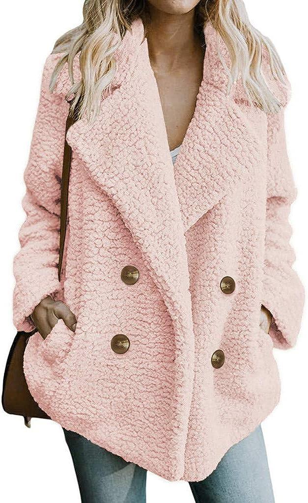 POTO Women's Fuzzy Fleece Jacket Lapel Open Front Cardigan Coat