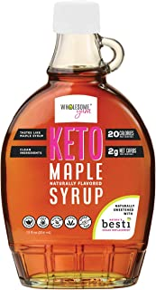 Wholesome Yum Keto Maple Syrup - Sugar Free Pancake Syrup With Monk Fruit & Allulose (12 fl oz) - Naturally Sweetened & Fl...