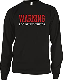 Amdesco Men's Warning I Do Stupid Things Thermal Shirt