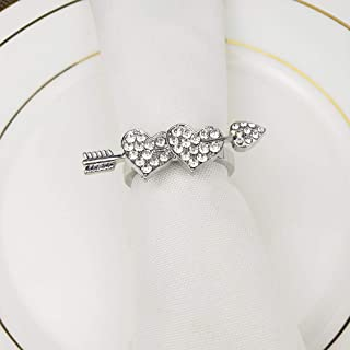 Everyday Napkin Rings Rhinestone Adornment for Wedding Bridal Party Silver Cupid's Arrow Set of 8, Daily Place Setting Reception Dinner Holiday Family Gatherings