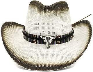 LiWen Zheng Men's Women's Outdoor Beach Hat Sunscreen Visor Western Leather Belt Decorative Spray Cowboy Hat National Wind