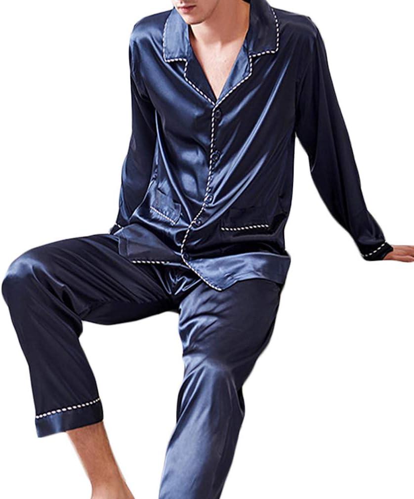 Nunubee Faux Silk Man's Pajamas Set Long Sleeve Sleepwear Solid Color Loungewear with Top & Pants/Bottoms Dark Blue - XXL
