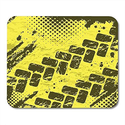 AEMAPE Alfombrillas de ratón para Coche, neumáticos Amarillos, Pistas y Medios Tonos, Alfombrilla de ratón para camión Deportivo, Oruga, 25X30 cm