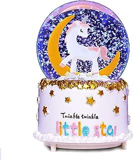 VECU Unicorn Snow Globe, 90 MM Snow Cartoon Moon Music Box Home Decoration for Girls Kids Granddaughters Babies Birthday Gift, Musical, Resin/Glass