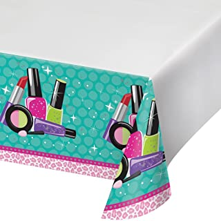 Creative Converting Sparkle Spa Party Plastic Table Cover with Border Print, 54 x 102