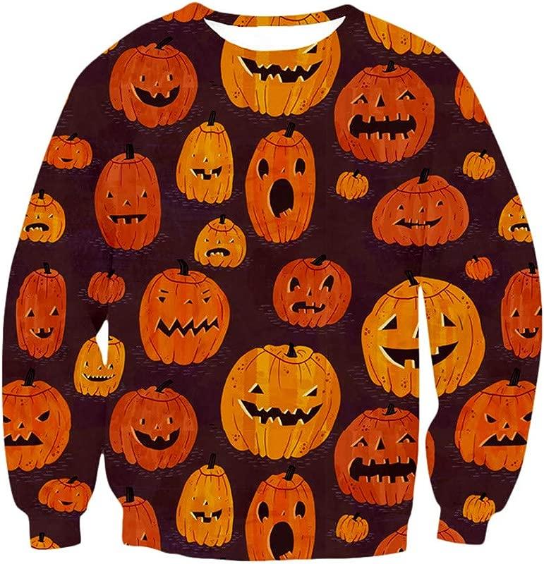 Hpapadks Women S Autumn Round Neck Capless Sweater 3D Halloween Costume Pumpkin Print Long Sleeve Sweatshirt