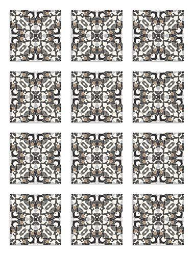 Panorama Azulejos Adhesivos Cocina Baño Pack de 24 Baldosas de 20x20 cm Estilo Hidráulico Oriental Gris - Vinilos Cocina Azulejos - Revestimiento de Paredes - Cenefas Azulejos Adhesivas