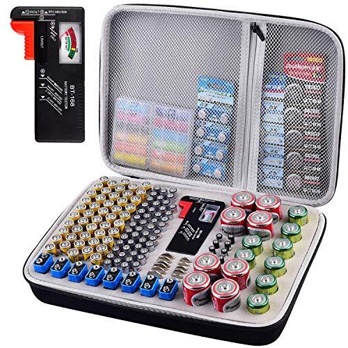 Batterie Aufbewahrungsbox mit Batterietester Akkutester BT-618, Batterien Aufbewahrung Organizer hält 250+ Batterien für 9V Block batterien Akku AA, AAA, C, D, 1.5V - Schwarz