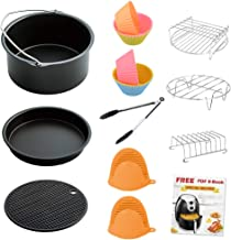 LATTCURE Air Fryer Accessories 12 PCS fit 3.7 qt and larger size, 7 Inch for 3.7 qt Air Fryer, Suitable for Philips, Cozyna, GoWise, and Power Air Fryer