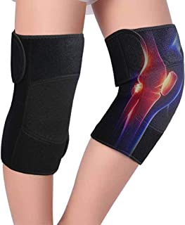 TOBWOLF Tourmaline Knee Support Brace, Compression Self-Heating Magnetic Knee Sleeve with Repalceable Thermal Pads for Arthritis Joint Pain Relief and Injury Recovery