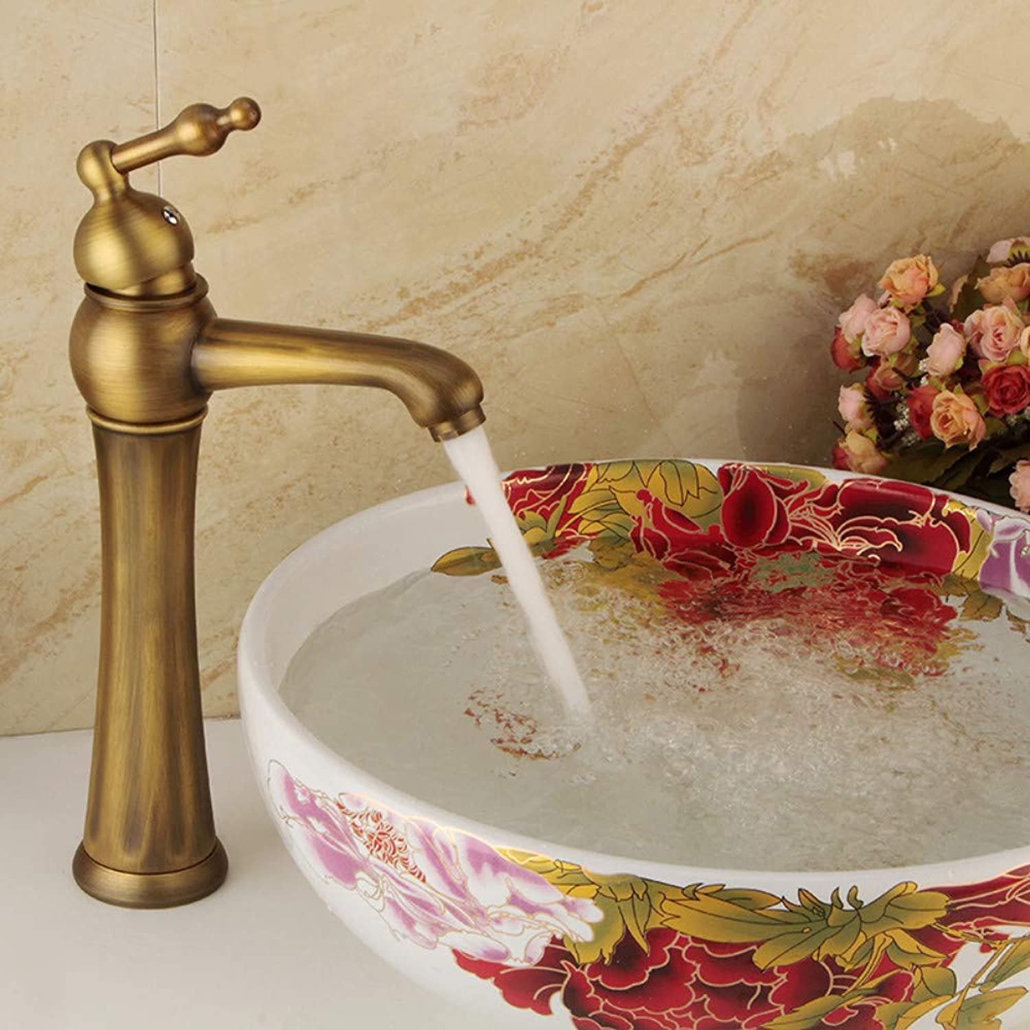 Bathroom Sink Tap Basin Faucets European Antique Single Hole Bathroom Faucets Brass Antique Single Cold and Hot Water Faucets