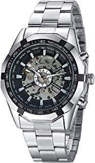 Winner TM340 Black Round Dial Stunning Automatic Mechanical Men's Wrist Watch with Stainless Steel Silver Band