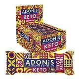 Adonis Barras de proteína Keto   Barras de mantequilla de maní y chocolate   100% Natural Nut Snacks, bajo en carbohidratos, alto en proteínas, vegano, bajo en azúcar - Caja de 16