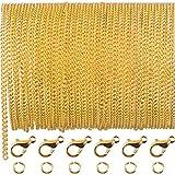 33 Piedi Oro Collana con Catena a Maglia Placcata con 30 Pezzi Anelli di Salto e 20 Pezzi Chiusure di Aragosta per Uomini e Donne Catena di Gioielli Fai Da Te (2.5 mm)
