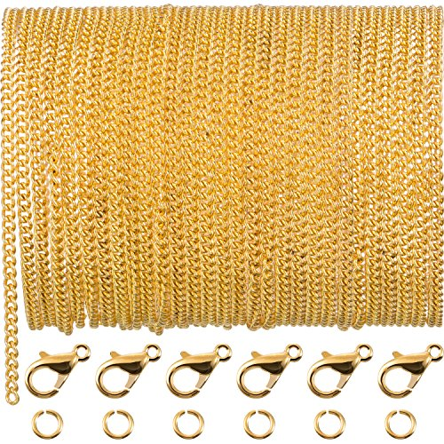 33 Feet Gold Plated Link Chain Necklace with 30 Jump Rings and 20 Lobster Clasps for Men Women Jewelry Chain DIY Making (2.5 mm)
