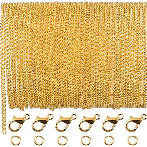 33 Pies de Cadena de Enlace Chapado de Oro Collar de Cadena con 30 Anillas de Salto y 20 Cierres de Langosta para Hombres Mujeres Fabricación DIY de Cadena de Joyería (2,5 mm)