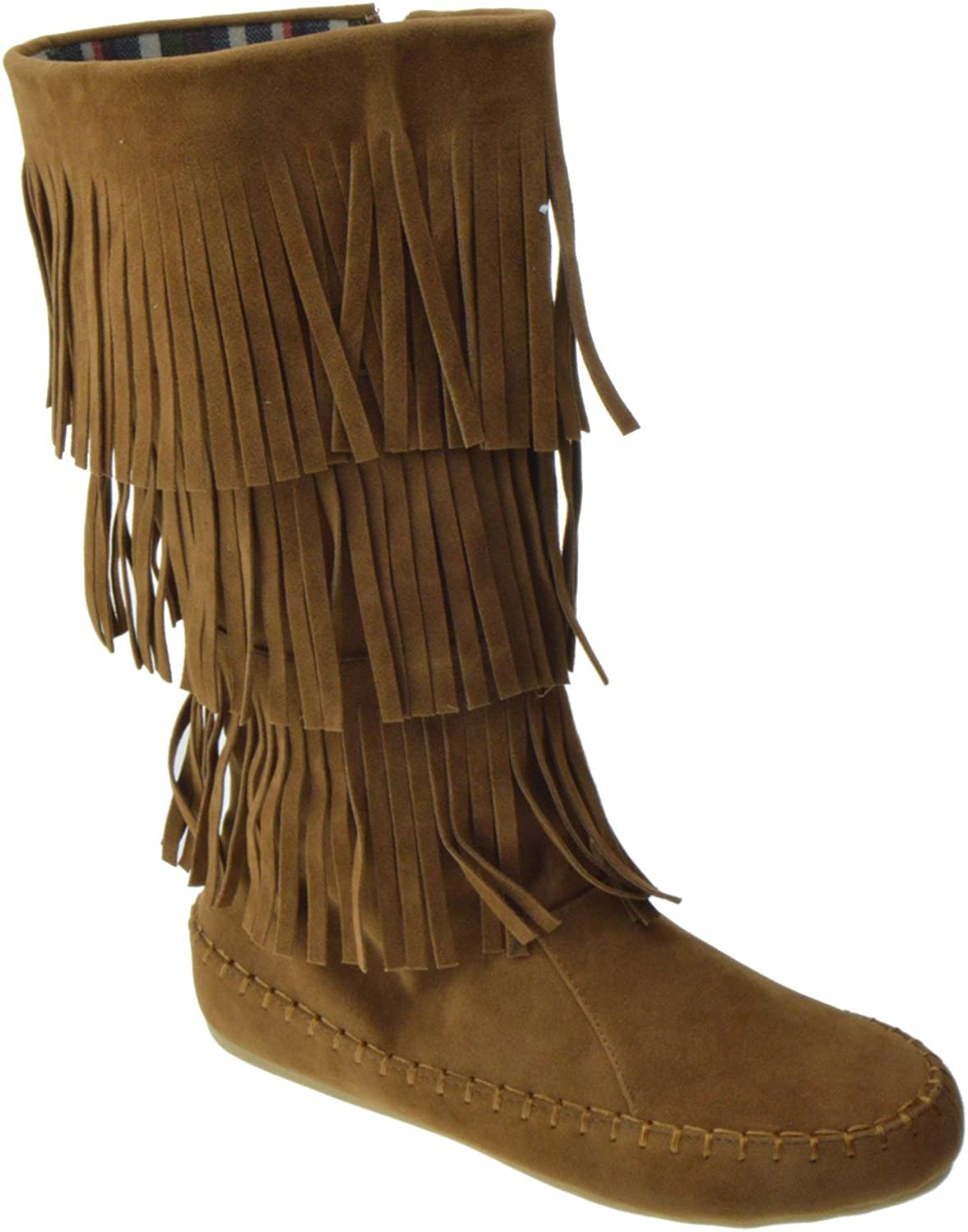 SHOEDEZIGNS TG 13 Womens 3 Layer Fringe Moccasin Mid-Calf Boots