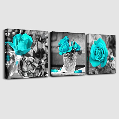 wall art for bedroom Simple Life Black and white rose flowers Blue Canvas  Wall Art Decor. Teal Bathroom Wall Decor  Amazon com