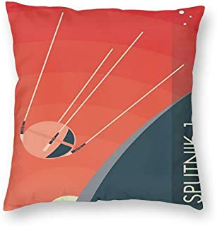Sputnik 1 Poster Pillowslip Unique Throw Pillow Cover Creative Cushions Case Covers with Zipper Home Decorative Print Pillowcase for Sofa Couch