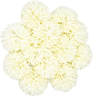 Benvo Artificial Flowers 12pcs Real Looking Hydrangea Faux Silk Plastic Chrysanthemum Ball Flowers Fake Flowers with Stems for Wedding Bouquets Centerpieces Bridal Party Home Kitchen Decoration-Ivory