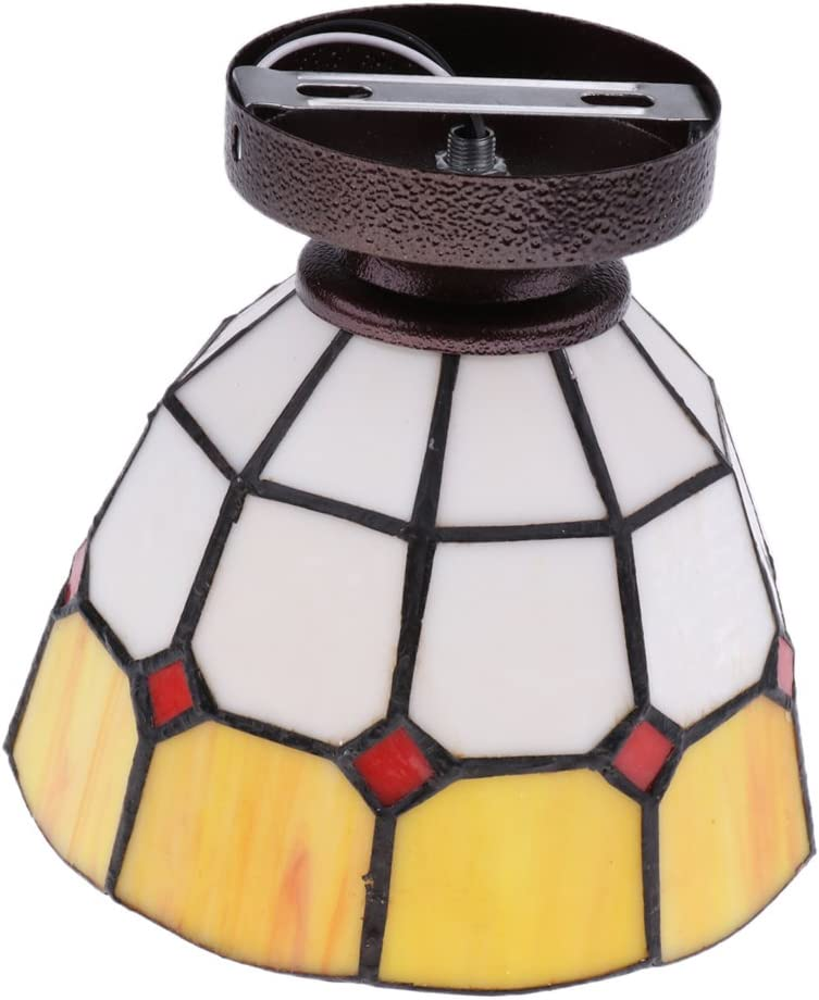 Branded goods gazechimp 1 year warranty Stained Glass Mediterranean Ceiling Flush Style Mount