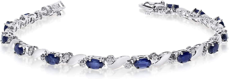 14k Seasonal Wrap Introduction White Gold Natural Sapphire Diamond Tennis Bracelet And Max 74% OFF