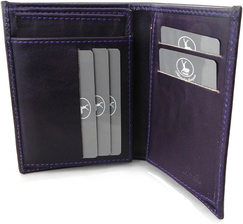 Leather wallet  Frandi  purple  green york (european).