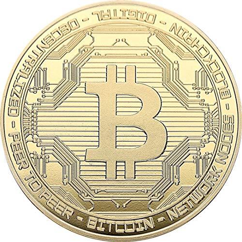 Bitcoin - Medaille 24-Karat Vergoldet mit Bronze Kern - Für Kryptofans als Sammelmünze in 40x2mm im Acrly Cup