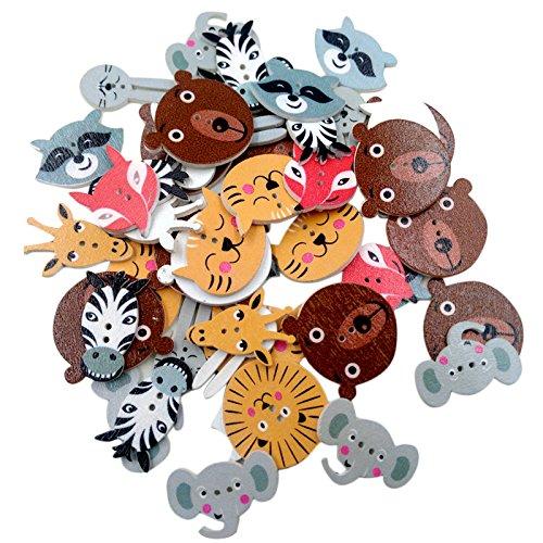 50 Stück Verschiedene Tiere Holz Knopf Knöpfe Holzknopf Nähen Handwerk 20mm