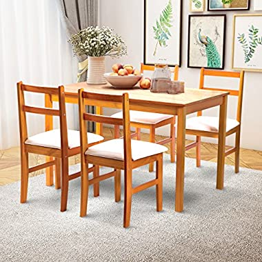 Merax 5pc Dinning Dinette 4 Person Table and Chairs Set Soild Pine Wood Dining Kitchen, Natural