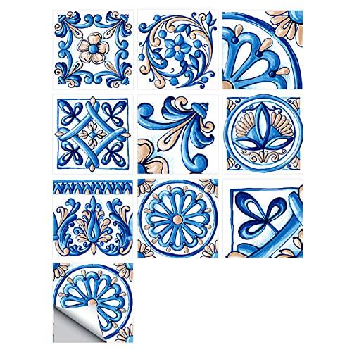 HUANLIAN 20 hojas de mosaico 3D adhesivo para azulejos de baño decorativos mosaicos de pared para azulejos de baño de 20 x 20 cm D