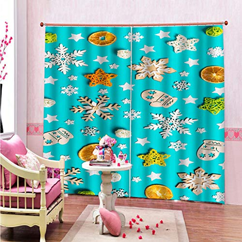 MMHJS 3D Christmas Curtain Thickened Polyester Waterproof Thermal Insulation Curtain Hotel Bedroom Living Room Balconyshading Vertical Curtain (2 Pieces)