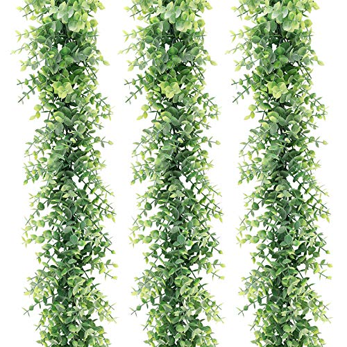 HATOKU 3 Pack 18 Feet Artificial Eucalyptus Garland, Fake Vine Greenery Garland Backdrop Hanging Plant for Party Wall Table Wedding Arch Indoor Outdoor Decor
