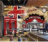 Größe 3D Foto Tapete Wandbild Wohnzimmer Bar London Britische Flagge Auto 3D-350Cmx245Cm