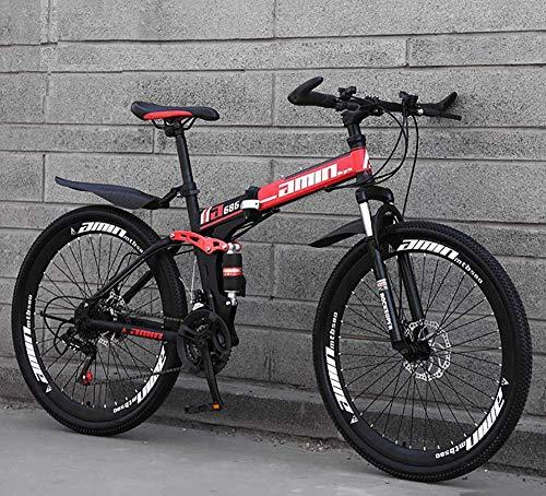 """Bicicleta De Montaña Plegable, 21/24/27/30-Speed Drivetrain Bicicletas De Montaña Bicicletas MTB Para Adultos Ligero De Acero Con Alto Contenido De Carbono Con Asiento Ajustable,Rojo,24""""/27 speed"""