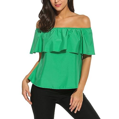 13570c984b73 Sherosa Women s Off Shoulder Ruffles Solid Casual Blouse Loose Tops
