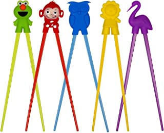 Training chopsticks for kids adults and beginners - 5 Pairs chopstick set with attachable learning chopstick helper - right or left handed