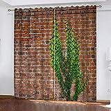 MENGBB Blickdicht Vorhang Kinderzimmer Mikrofaser 280x260cm Grüner Pflanzendruck der Backsteinmauer...