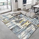 moqueta Azul Alfombra de Sala de Estar Gris Azul Vintage patrón Antiguo con Alfombra Duradera alfombras Infantiles Grandes 120x180cm alfombras Lavables Salon 3ft 11.2''X5ft 10.9''